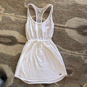 White Hollister Dress - lined bottom - lace back
